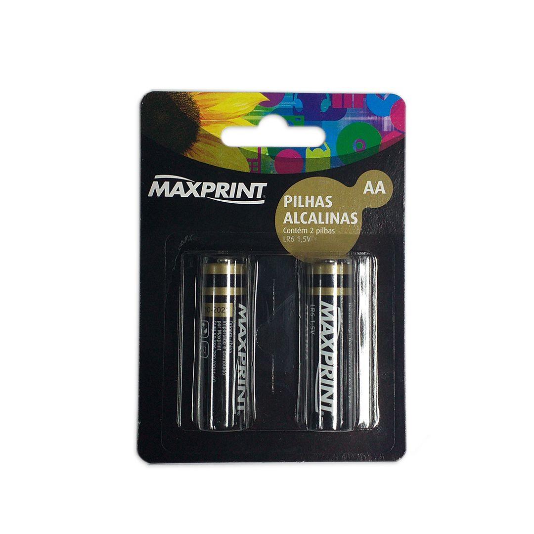 Pilha Alcalina Maxprint 1,5V (Cartela com 2 Unidades)