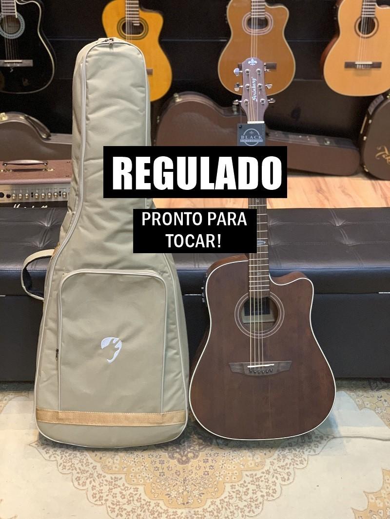 Violão Elétrico Folk Aço Strinberg SD200C Smoked + Bag Premium