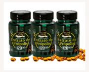 Extrato de própolis verde 120 cápsulas gelatinosas - Kit 3 unidades