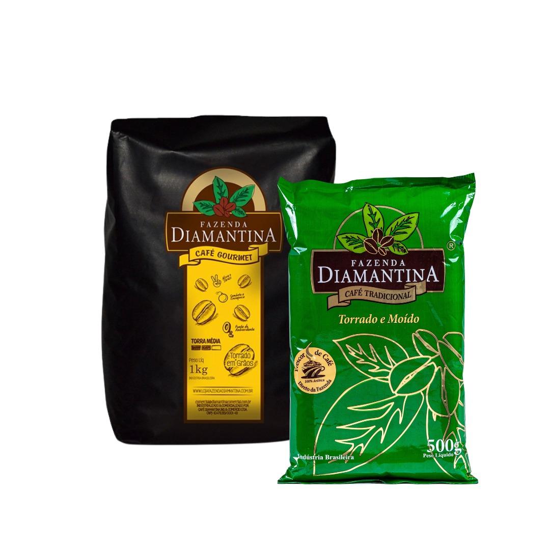 1 Café torrado em grão gourmet 1kg + 1 Café Tradicional moído 500g