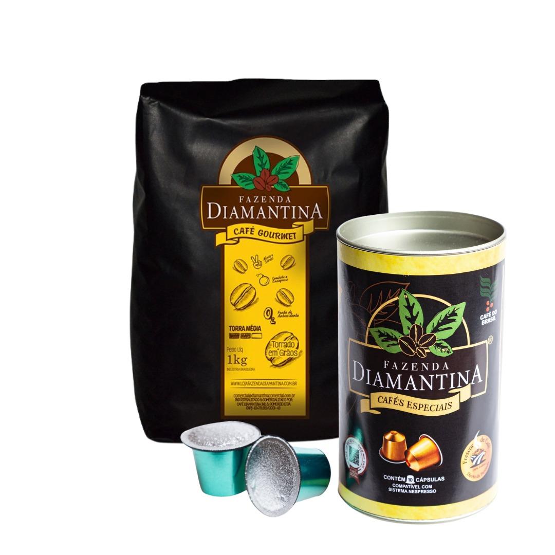 1 Café torrado em grãos 1kg + 1 Café em Cápsulas Nespresso® - 10 unidades