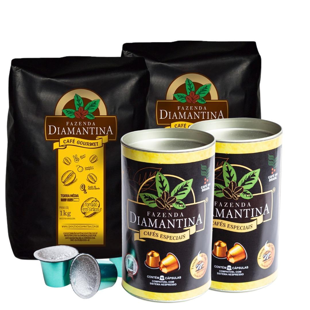 2 Cafés torrado em grãos 1kg + 2 Cafés em Cápsulas Nespresso® - 20 unidades