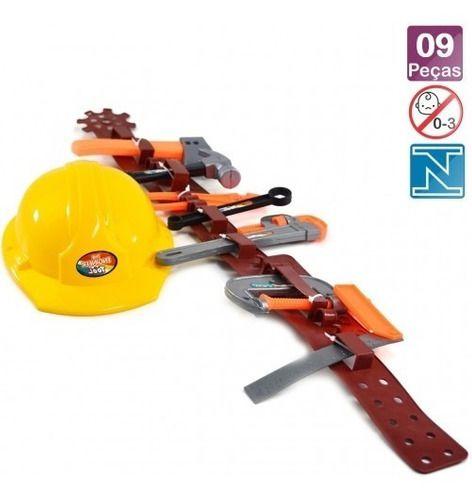 Kit Construtor Ferramenta Capacete E Acessorios 9 Peças Ark Toys AKT3479