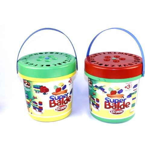 Balde Blocos Montar Core 100 Peca Brinquedo Educativo  9332