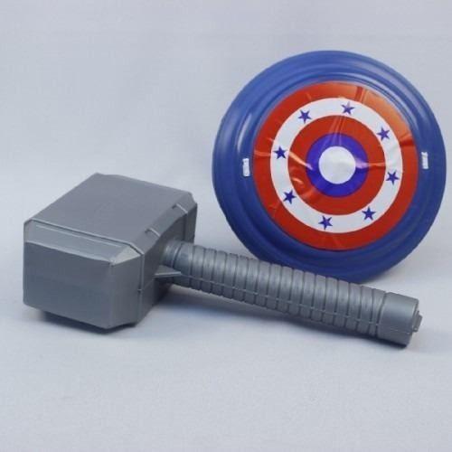 Kit Brinquedo Do Herói Thor Martelo Escudo Capitão America 9072