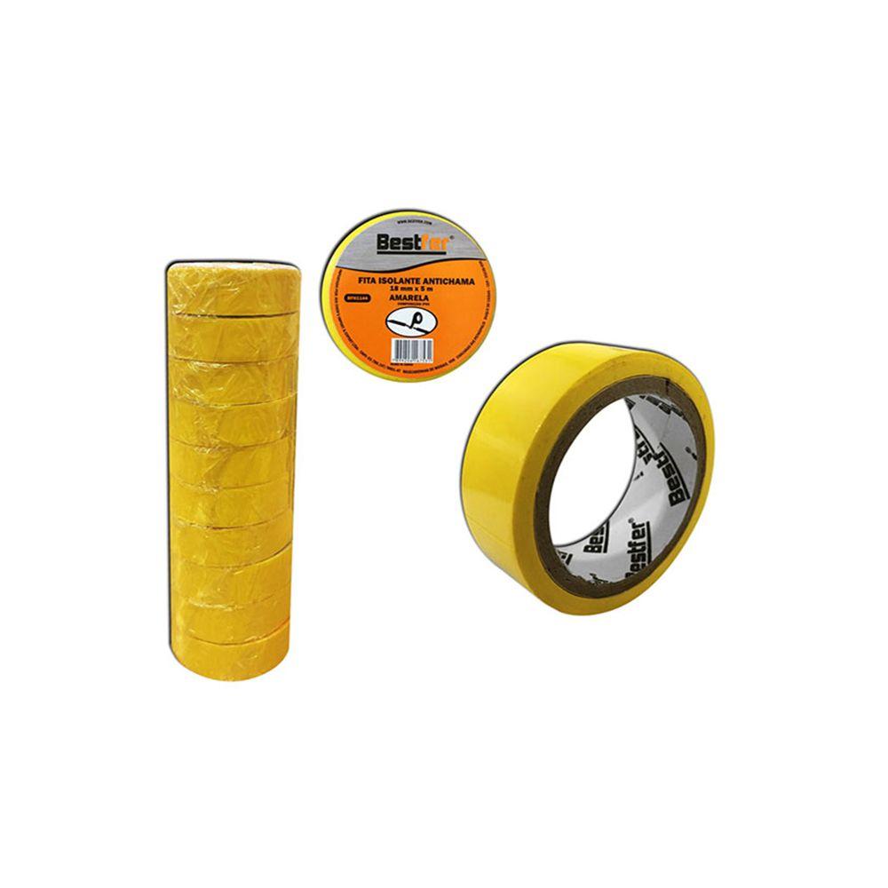 10 Fitas Isolante Amarela Antichama 18mmx5m Bestfer Bfh1144-10