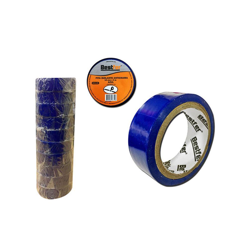 10 Fitas Isolante Azul Antichama 18mmx5m Bestfer Bfh1145-10