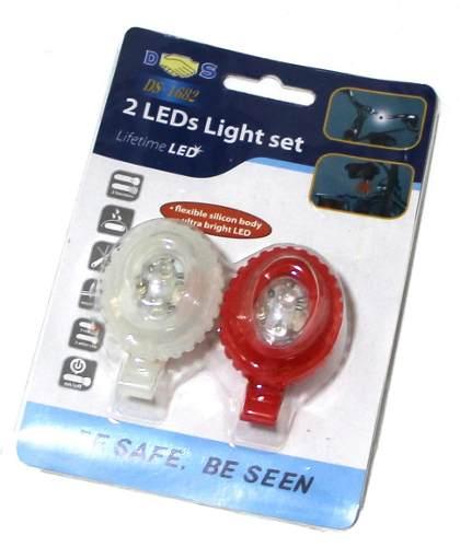 10 Kits Bike Segurança Lanterna Com Led Dianteiro Traseira 3086