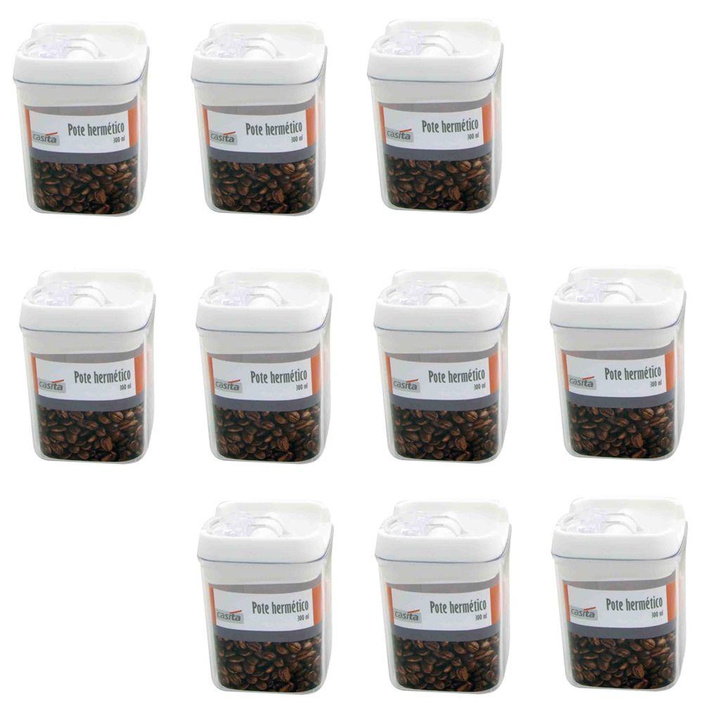 10 Potes hermético em poliestireno 300ml Casita HM014-10
