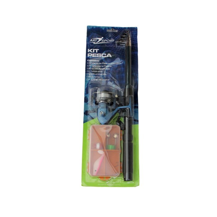 12 Kit De Pesca Vara 2mts Completo Caixa De Pesca Molinete 0702