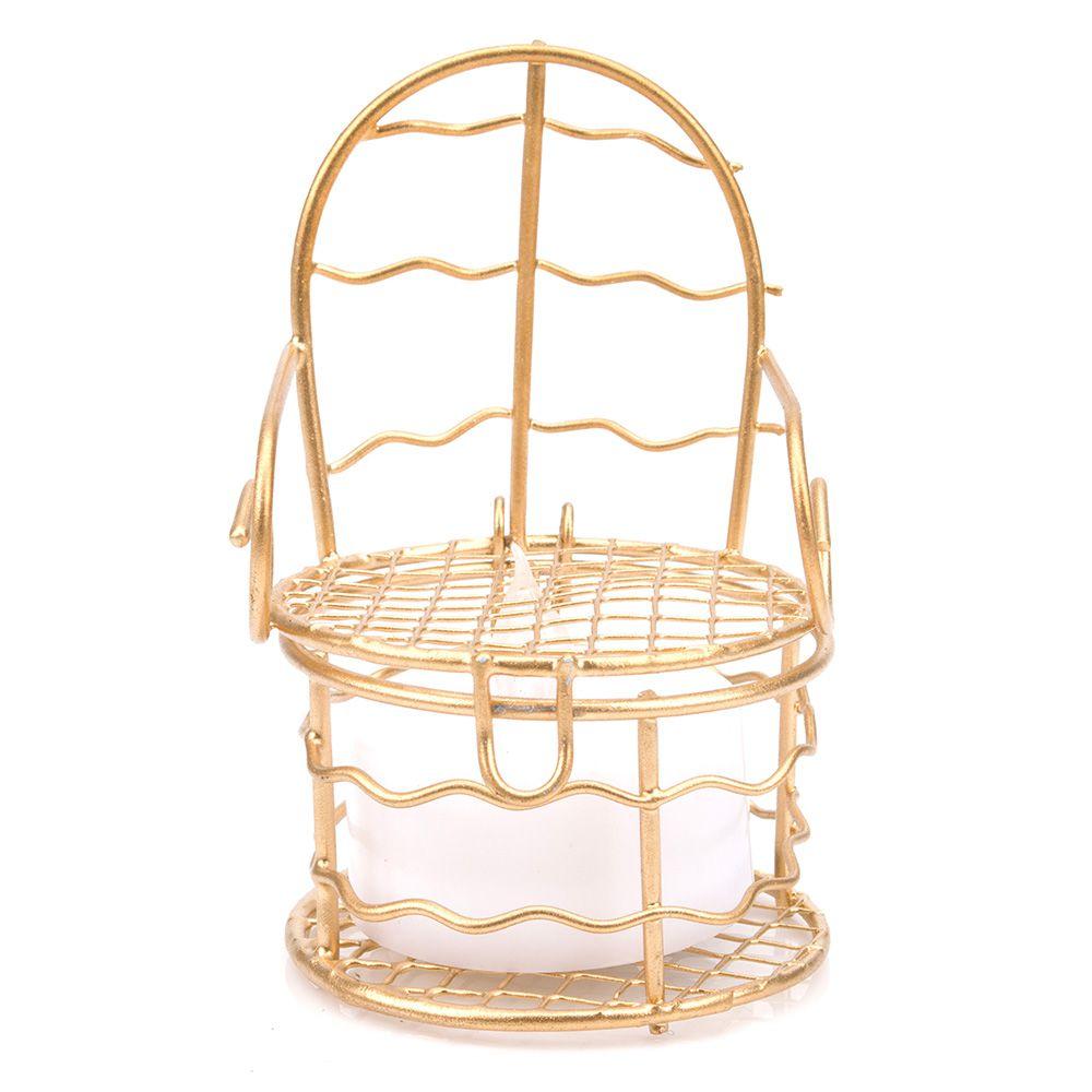12 Lembrancinhas Mini Cadeirinha Aramado aniversários casamento Dourada 7317+vela