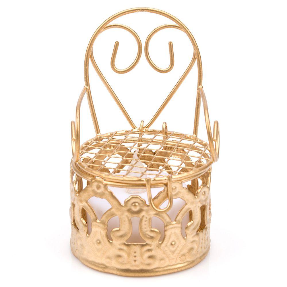 12 Lembrancinhas Mini Cadeirinha Aramado aniversários casamento Dourada 7318+vela