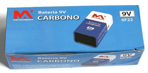 Bateria 9v 6f22 Caixa C/ 10 Unidades Maxmidia L Duração 0930