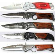 Kit 5 Canivetes Esportivo Cabo De Madeira Pesca Coleção Caça