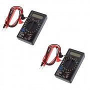 2 Multímetro Digital Portátil Multiuso Preto Aço Forte DT-830B-2