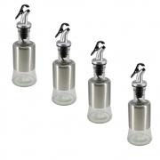 4 Garrafas Vidro Aço Inox Azeite Vinagre Tampa Pequeno 200ml AM-1683-4