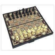 5 Jogos de Xadrez Magnético Dama E Gamão Imperdível 3 em 1 19x19cm 95661-5