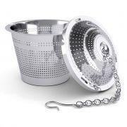 6 Infusor Chá Cesto em aço Inox Com Corrente Reforçado 4,5 X 4 Cm Ke Home  6485-6
