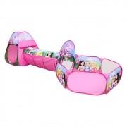 Barraca 3 Em 1 Toca Túnel Rosa Princesas DM Toys DMT5880