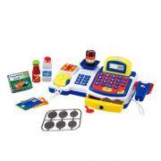 Caixa Registradora Com Luz Som e Acessorios 24 Pecas Azul DM Toys DMT3816