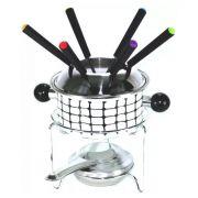 Conjunto de fondue 10 peças esmaltado 1 panela de fondue 1 separador garfo 1 suporte 1 fogareiroe 6 garfos Casita CA12212-1