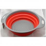 Escorredor Alimentos Massa Legume Silicone Retrátil Redondo Cozinha FWB F-97622
