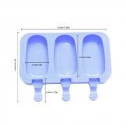 Forma De Picolé Em Silicone 3 Cavidades E 50 Palitos Ke Home 6750-1