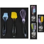 Kit Confeitaria Espátula Pincel Batedor P/ Cozinha Silicone AM-3357