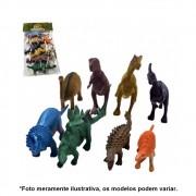 Kit Dinossauros Miniatura Pequeno de Plástico 8 Peças AKT3068