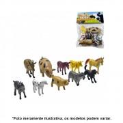 Kit Miniatura de Animais fazendinha Pequeno de Plástico 10 Peças AKT3059