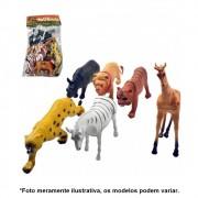Kit Miniatura de Animais fazendinha Pequeno de Plástico 6 Peças AKT3125