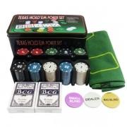 Kit Poker 200 Fichas 2 Baralhos Botão dealer na lata 0834