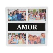 Painel Porta Retrato De Parede 4 Fotos 10x15 Tema Amor WX5048