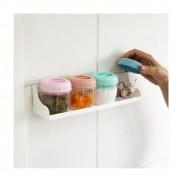 Porta condimentos com 4 potes + suporte de parede
