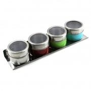Porta Temperos Condimentos Magnetico Imã Inox 4 Potes Cores Com Suporte WX3880