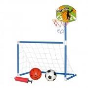 Trave 2 Em 1 Futebol E Basquete Infantil 2 Bolas + Bomba Ar DMT5936