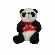 Urso Panda De Pelúcia com coração duplo amor Sentado 28cm Fizzy FE7178