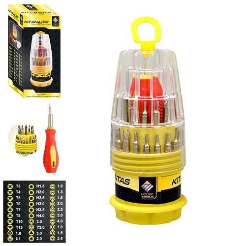 Kit Com 31 Chaves De Precisão Fenda Alen Torx Philips Y 4002