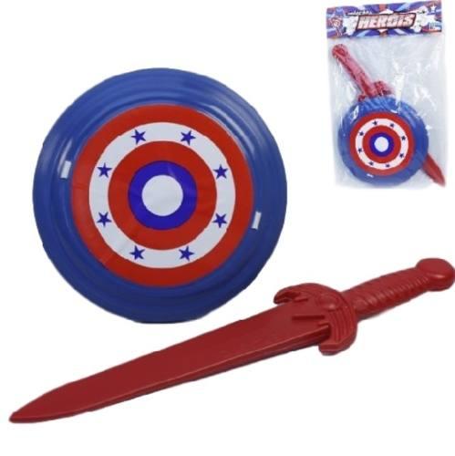 Kit Espada E Escudo Brinquedo Heróis Infantil Plástico 9071