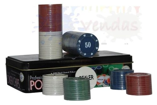 Kit Poker Profissional Super Luxo Em Lata Com 100 Ficha 0832