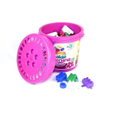 Balde Bloco Montar Rosa 100 Peca Brinquedo Educativo - 9331