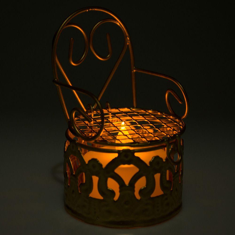 24 Lembrancinhas Mini Cadeirinha Aramado aniversários casamento Dourada 7318+vela