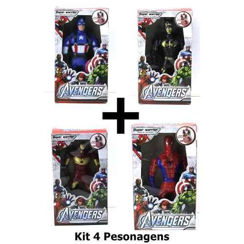 Kit 4 Bonecos Super Hero