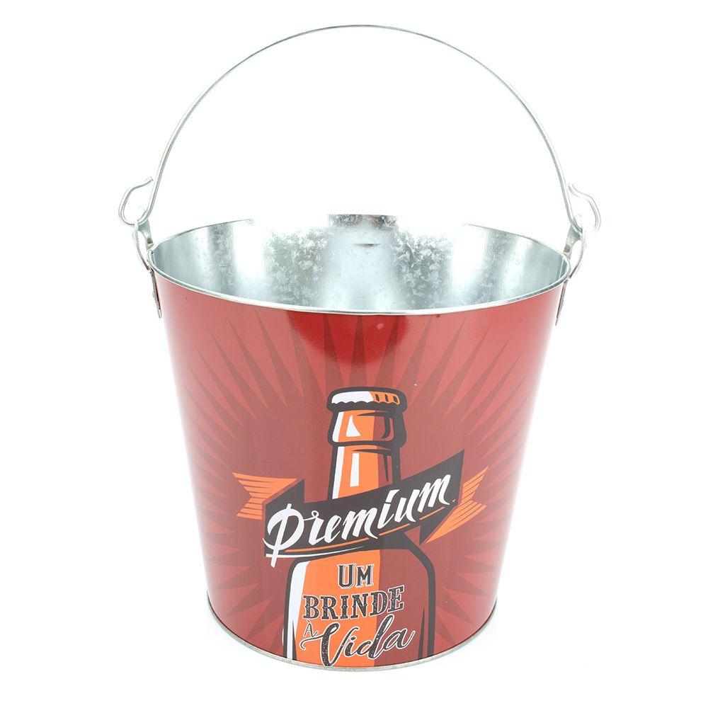 3 Baldes 8 Litros Metal para cerveja bebida gelo estampada com alça e abridor F-99855-3