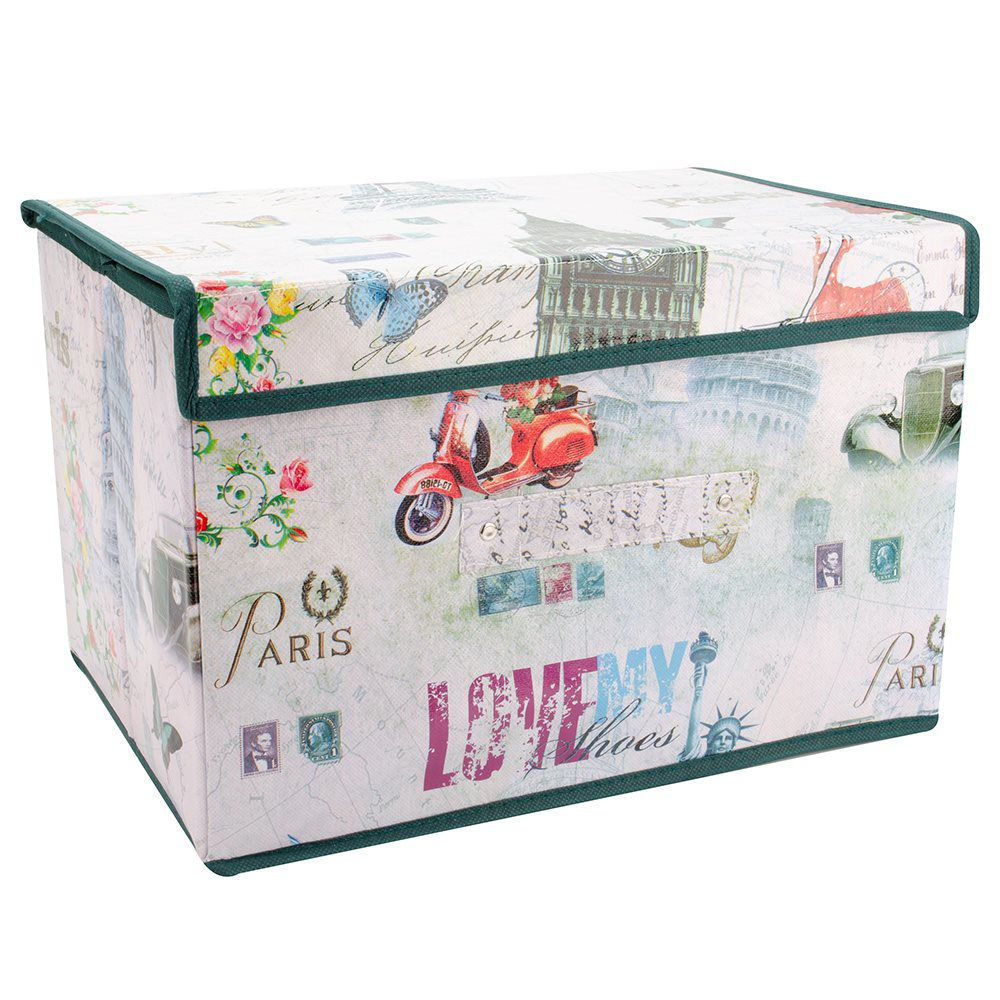 3 Caixas Organizadora Rígida estampada armários closet quarto MKD1009-3