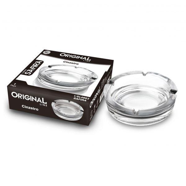 3 Cinzeiros de Vidro para Cigarros Linha Safira Original Line Sl0863-3