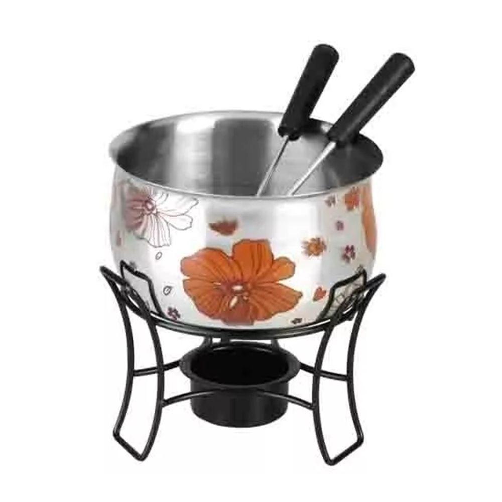 3 Conjuntos de fondue 4 peças em aço inox 1 panela de fondue 1 suporte preto esmaltado e 2 garfos Casita CA12211-3