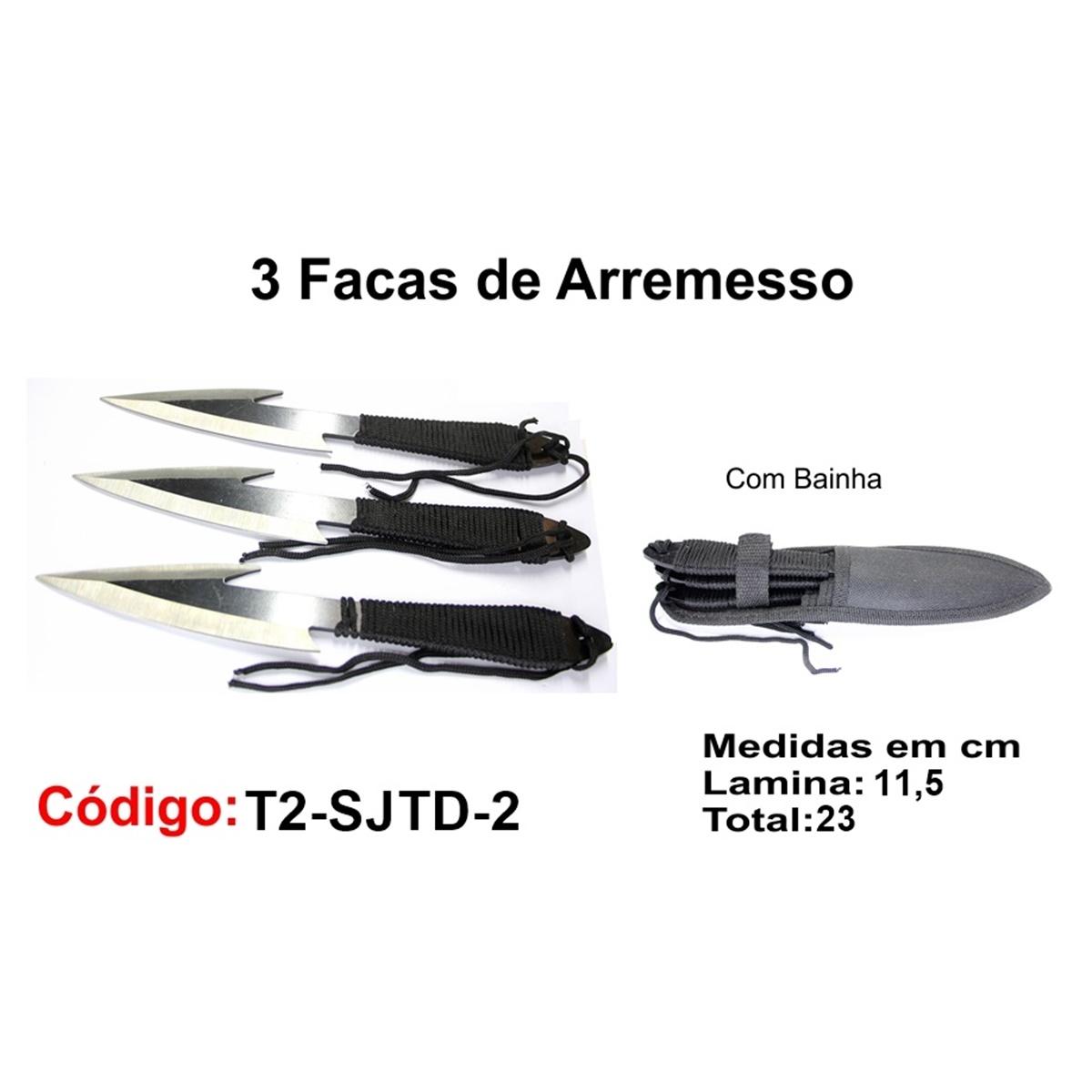 3 Facas de Arremesso Esportiva Com Bainha Modelo Caça Pesca Etc T2-SJTD-2