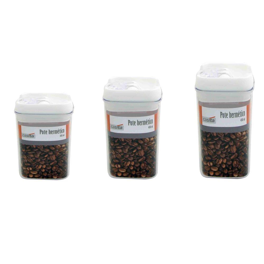 3 Potes hermético em poliestireno 300, 450 e 550ml Casita