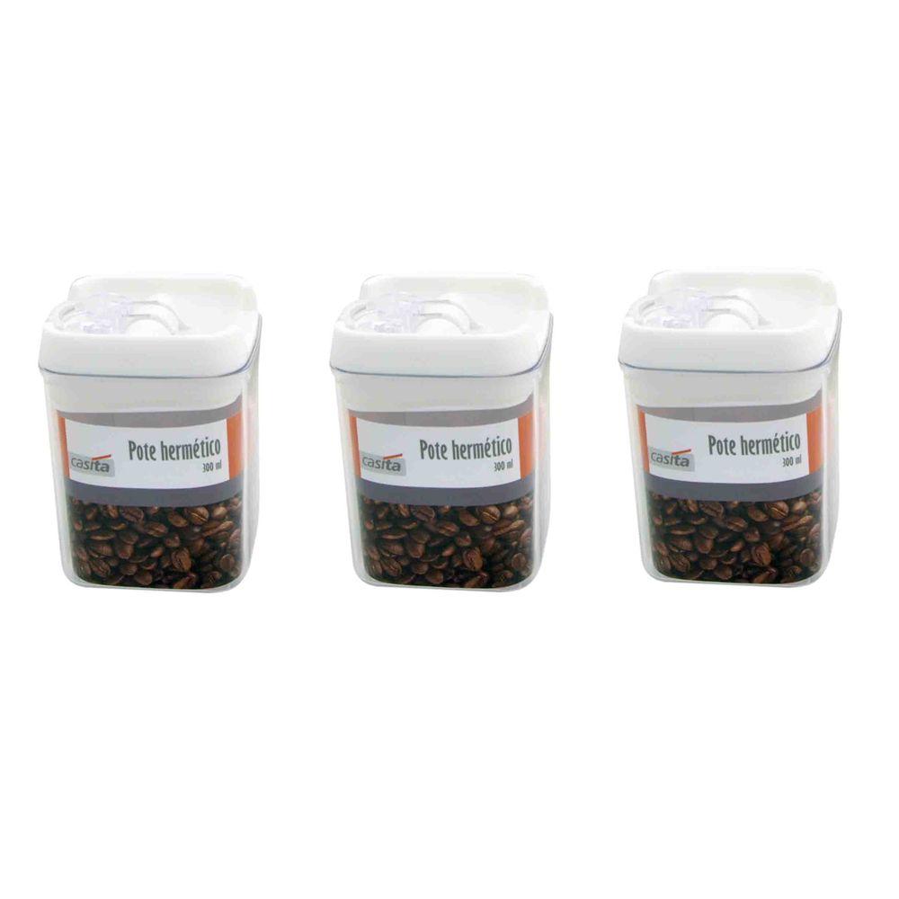 3 Potes hermético em poliestireno 300ml Casita HM014-3